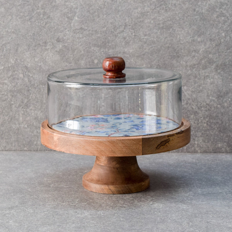 Andrea Glass Dome and Mango Wood Cake Stand - Home Artisan