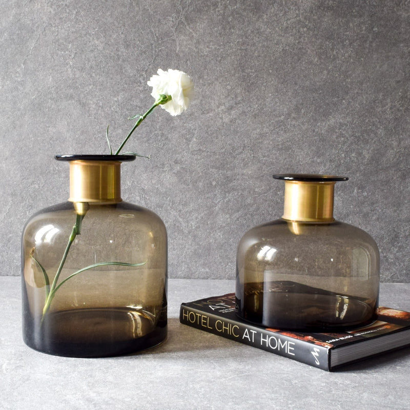 Sanderson Brown Glass Vase (Small) - Home Artisan