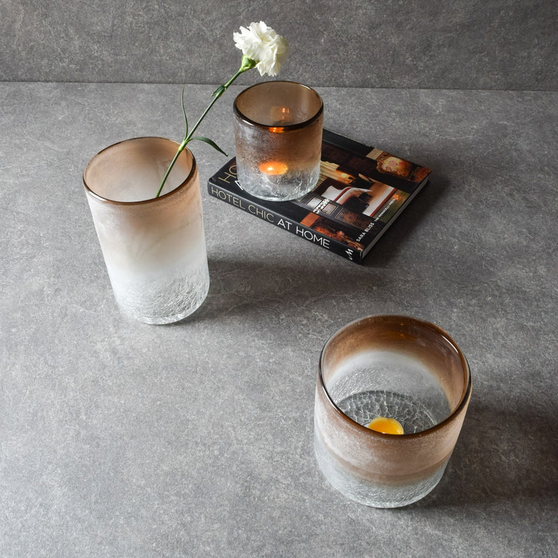 Salvador Blush Rim Glass Vases/Hurricane Candle Holders