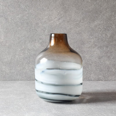 Norwood Brown Marble Swirl Glass Vase - Home Artisan