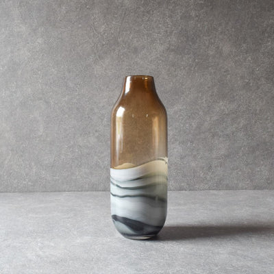 Norwood Brown Marble Swirl Glass Vase (Tall) - Home Artisan