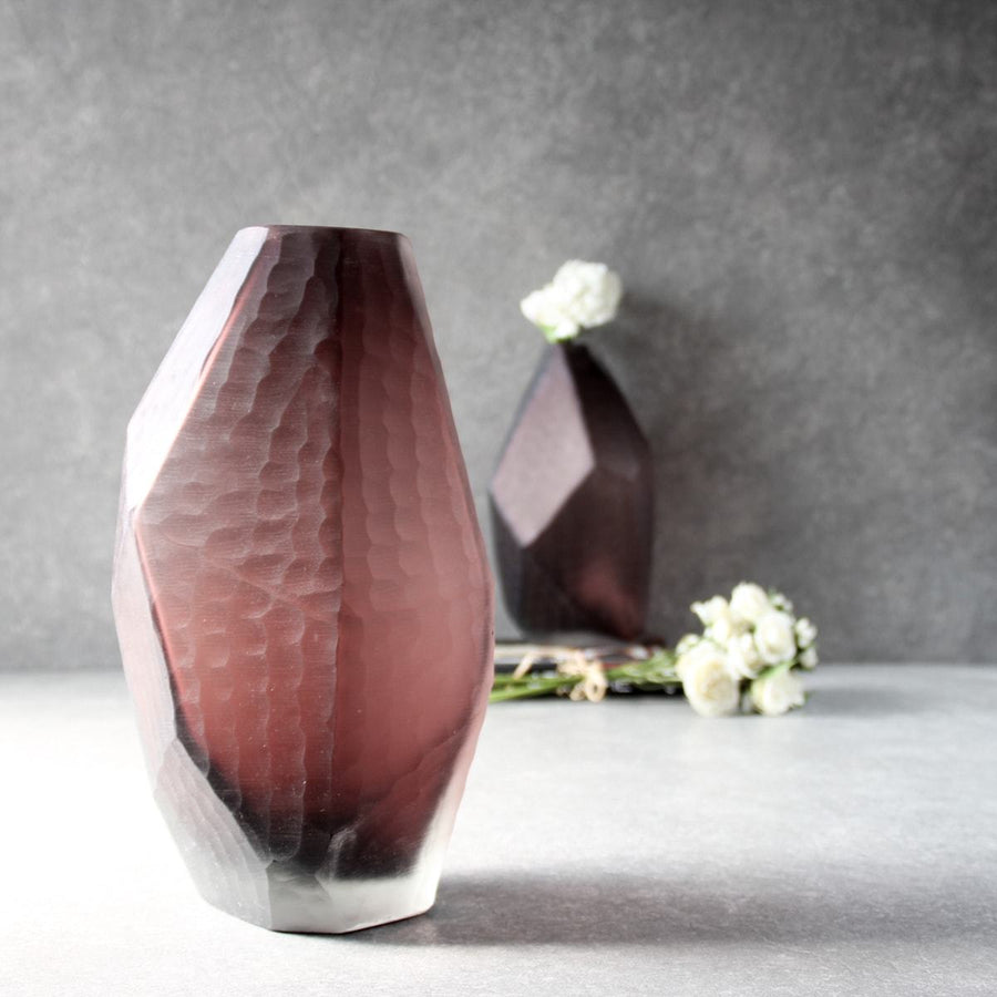 Marjorie Geometric Facet Glass Vase - Tall