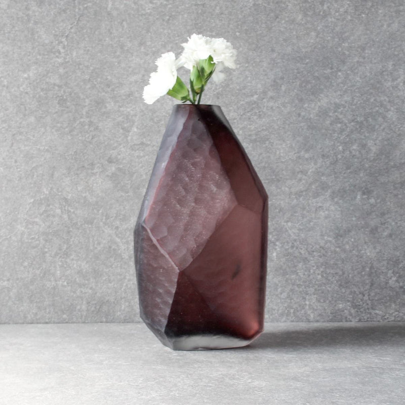 Marjorie Geometric Facet Glass Vase - Small