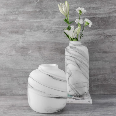 Melvin Marble Swirl Glass Vase - Tall - Home Artisan