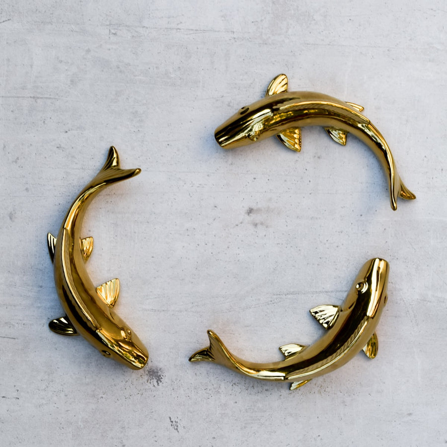 Misty Gold Fish Ceramic Wall Sculptures - Set of 3