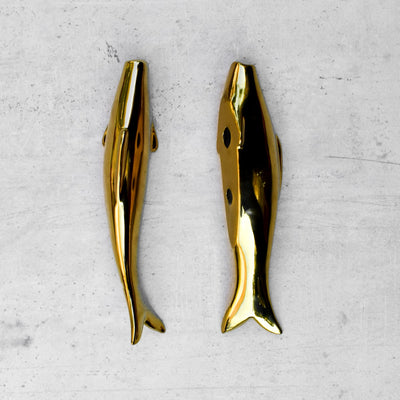 Drew Gold Fish Ceramic Wall Sculptures - Set of 3