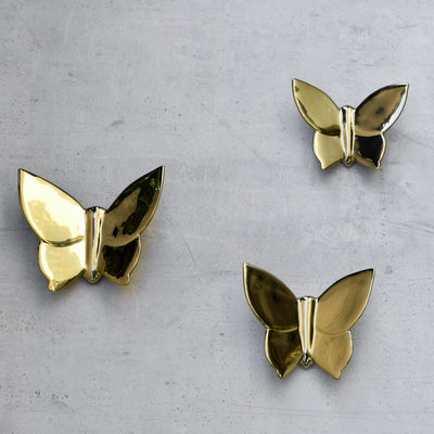 Cassidy Golden Butterfly Ceramic Wall Sculptures - Set of 3
