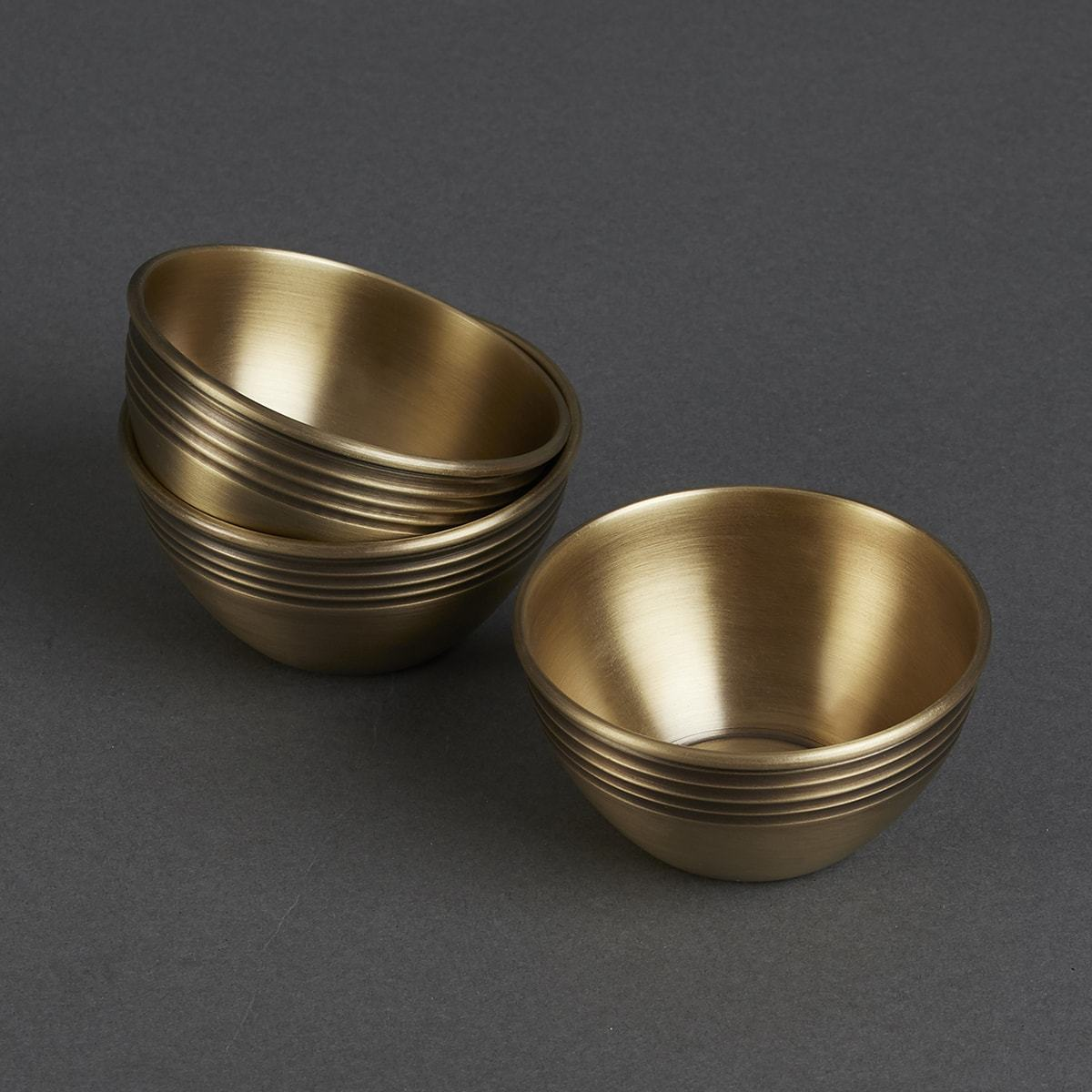 Gold Brassware Round Katori (Set of 3) by Ritu Kumar Home - Home Artisan