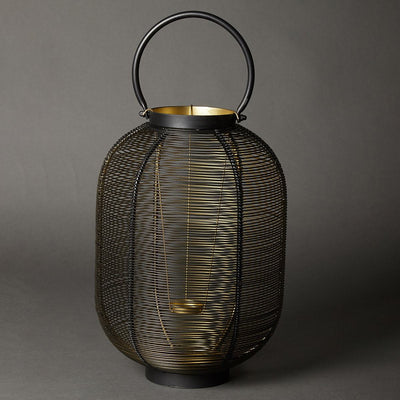 Black Wireframe Lantern (Tall) by Ritu Kumar Home - Home Artisan