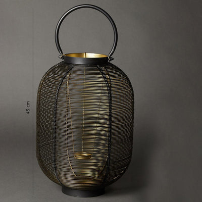Black Wireframe Lantern (Tall) by Ritu Kumar Home