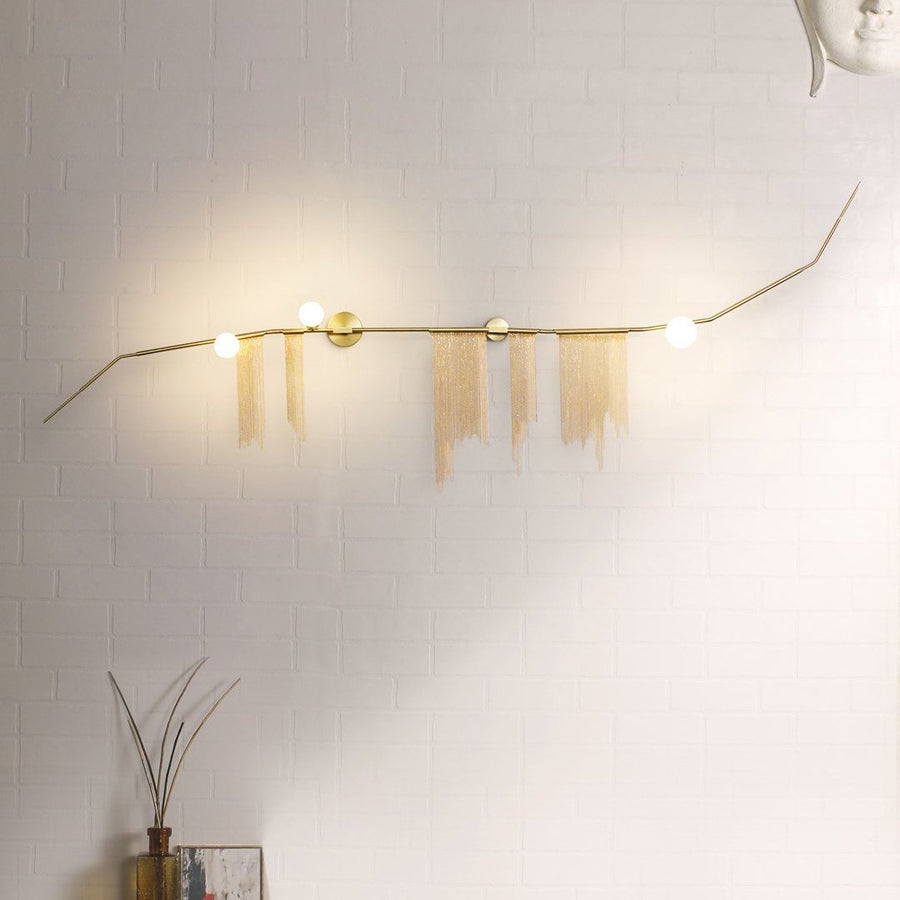 Simone Metallic Fringe 3-Light Chandelier - Home Artisan