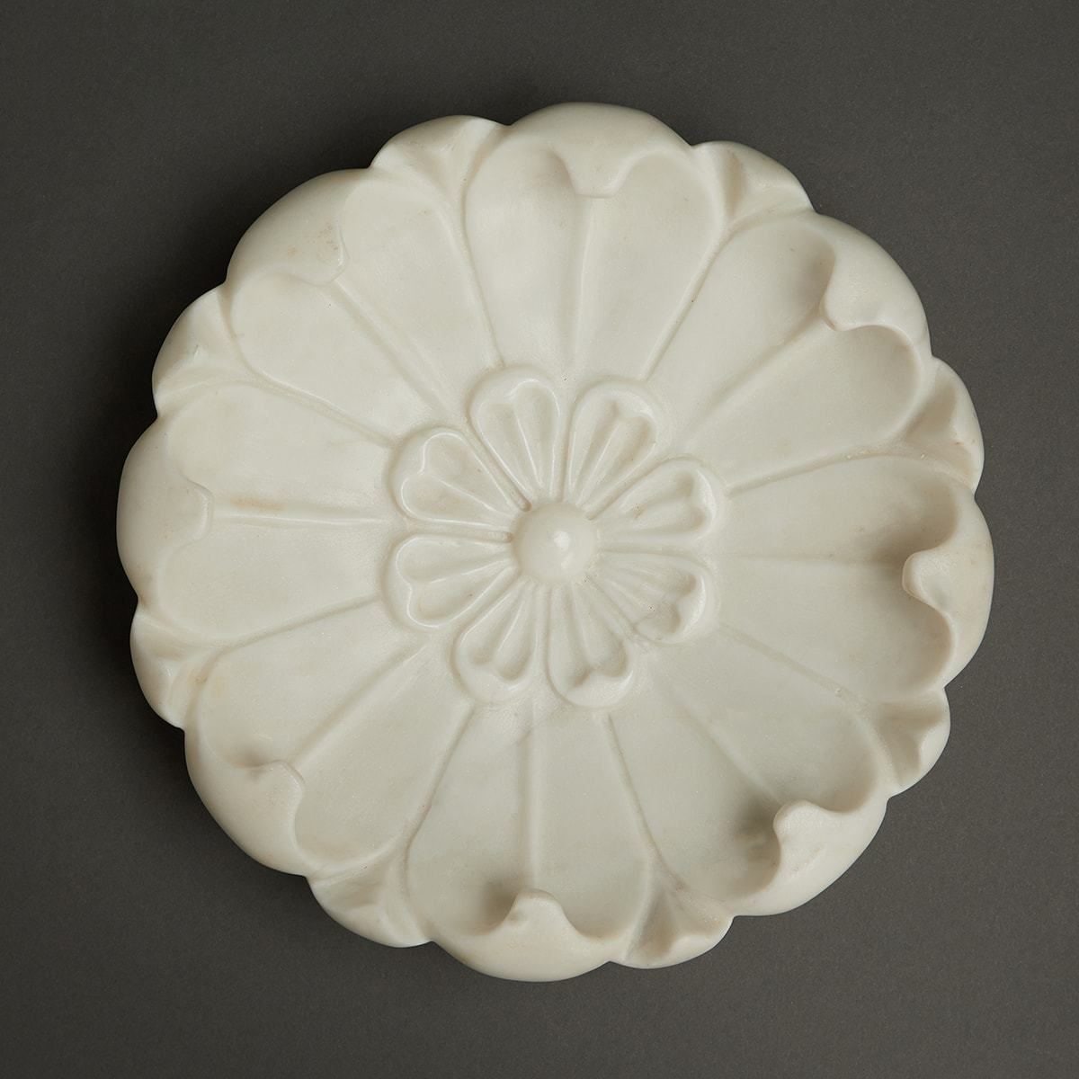 Ivory Awadh Marble Decorative (Lotus) by Ritu Kumar Home - Home Artisan