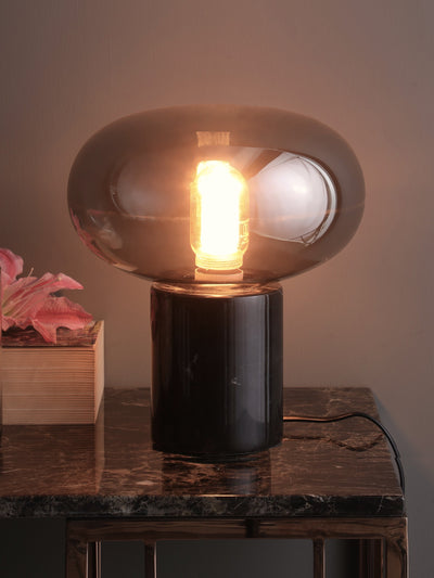 Barack Smoky Glass Table Lamp (Large) - Home Artisan