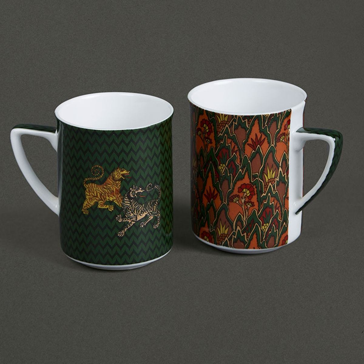 Green & Red Baagh Mugs (Set of 2) by Ritu Kumar Home - Home Artisan