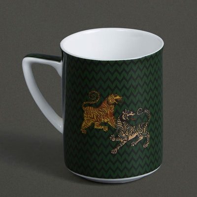 Green & Red Baagh Mugs (Set of 2) by Ritu Kumar Home