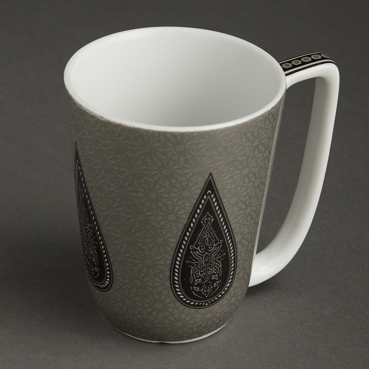 Black Awadh Porcelain Round Mug by Ritu Kumar Home