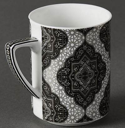 Black & White Awadh Mugs (Set of 2) by Ritu Kumar Home