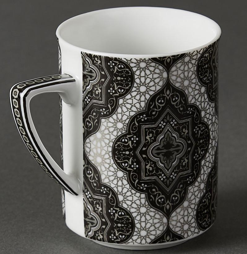 Black & White Awadh Mugs (Set of 2) by Ritu Kumar Home - Home Artisan