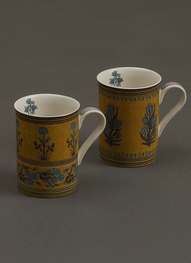 Yellow Jalmahal Mugs (Set of 2) by Ritu Kumar Home - Home Artisan