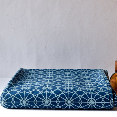 Mason Blue and Turquoise Geometric Print Bed Sheet - Home Artisan_1