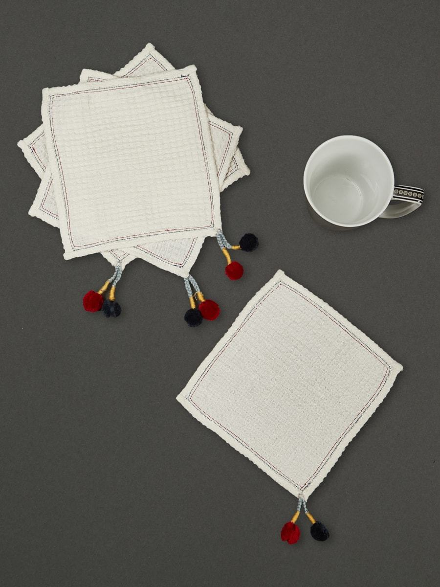 Ivory Chameli Cocktail Napkin (Set Of 4) by Ritu Kumar Home - Home Artisan
