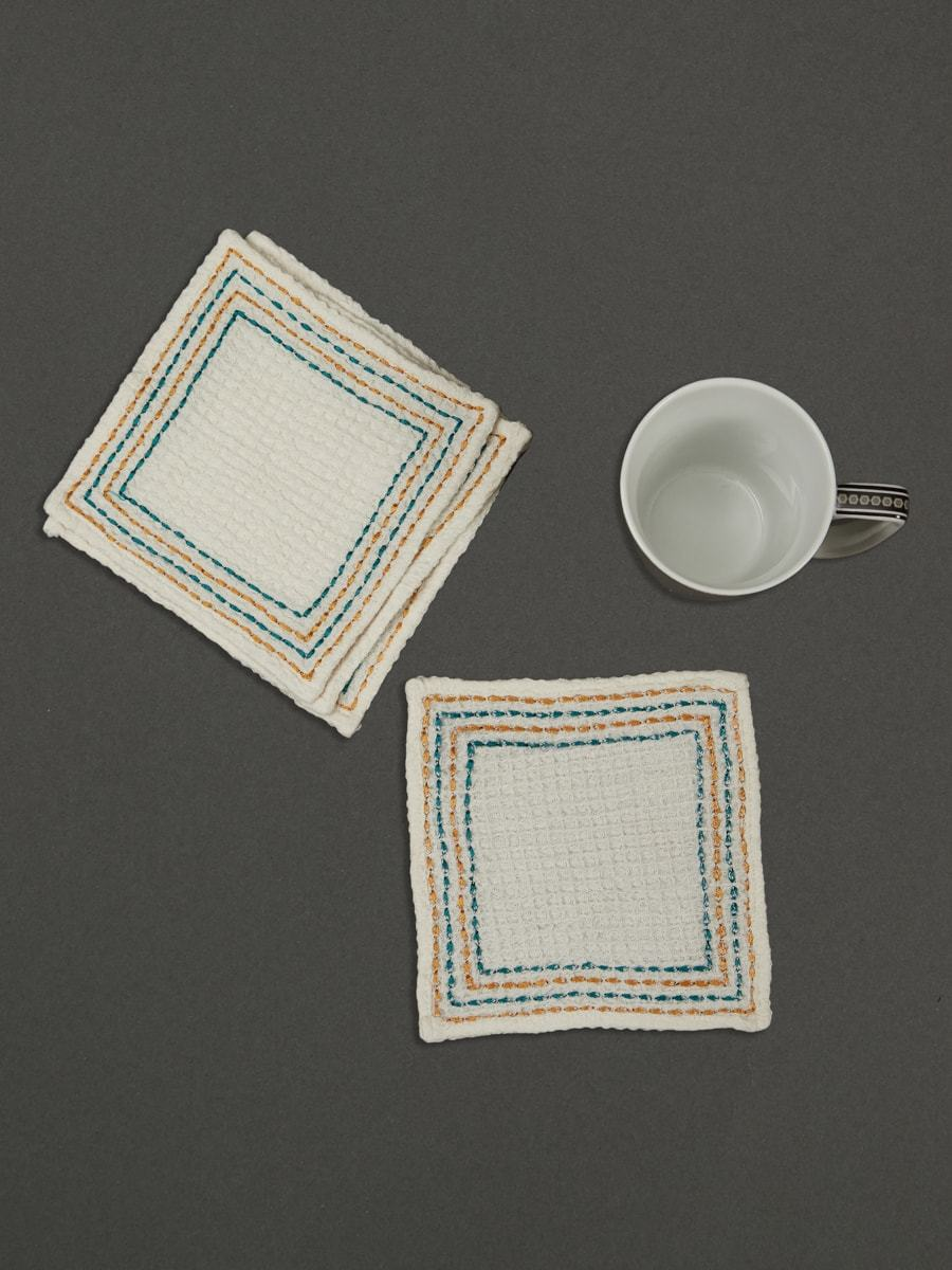 Ivory Jal Mahal Cocktail Napkin (Set Of 4) by Ritu Kumar Home - Home Artisan