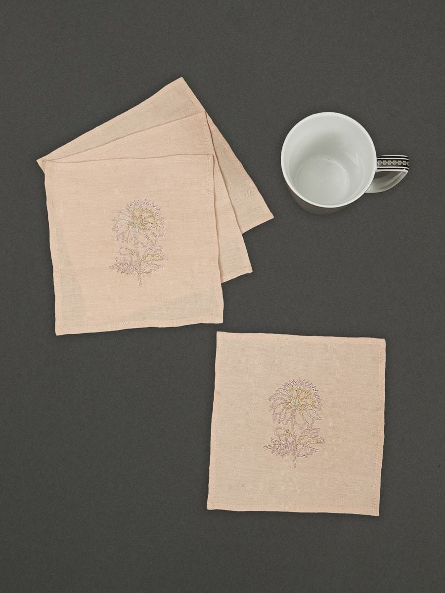 Nude Chidambaram  Cocktail Napkin (Set Of 4) by Ritu Kumar Home - Home Artisan