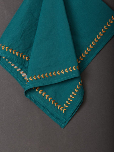 Turquoise Jal Mahal Dinner Napkin (Set Of 4) by Ritu Kumar Home - Home Artisan