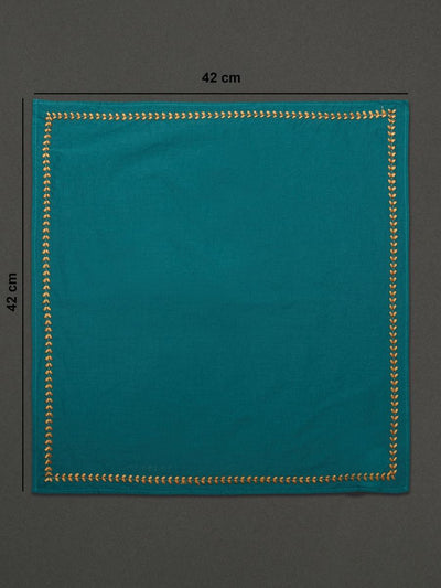 Turquoise Jal Mahal Dinner Napkin (Set Of 4) by Ritu Kumar Home