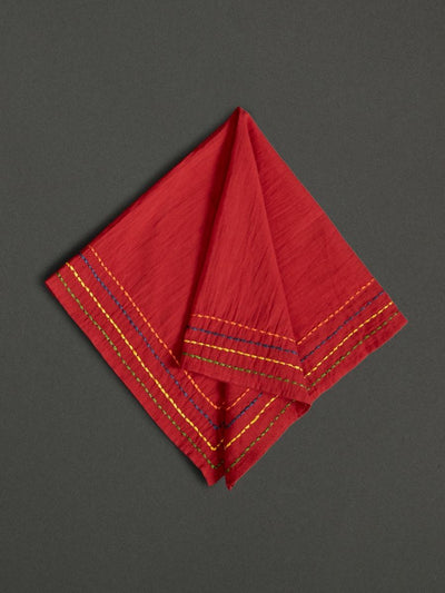 Red Banki Dinner Napkin (Set Of 4) by Ritu Kumar Home