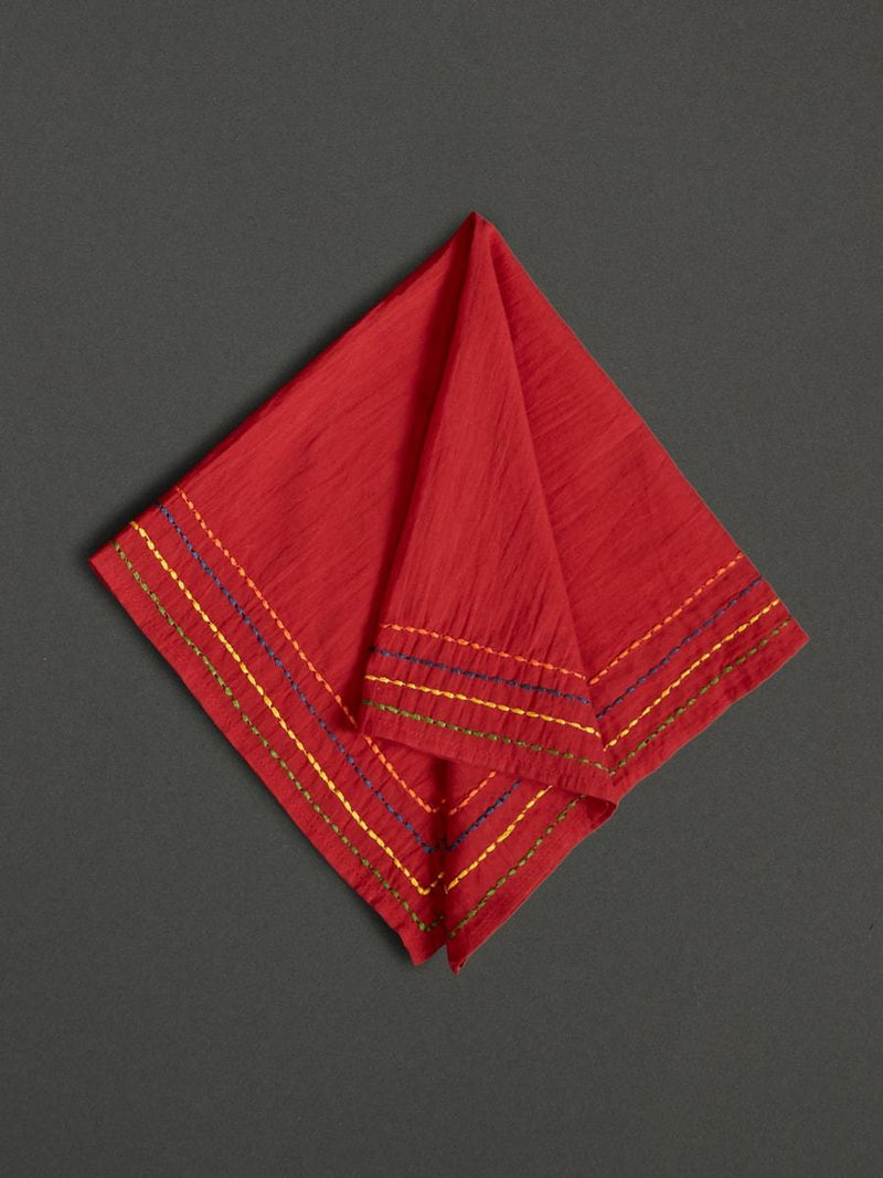 Red Banki  Dinner Napkin (Set Of 4) by Ritu Kumar Home - Home Artisan