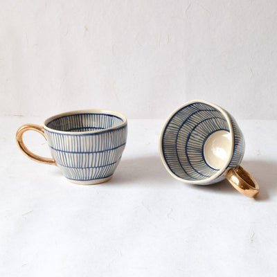 Natalie Meshed Handmade Ceramic Cup with Gold Handle (Blue) - Home Artisan_1