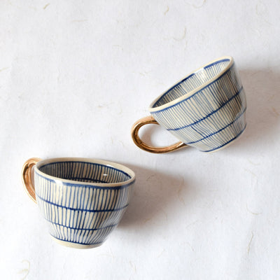 Natalie Meshed Handmade Ceramic Cup with Gold Handle (Blue) - Home Artisan_3