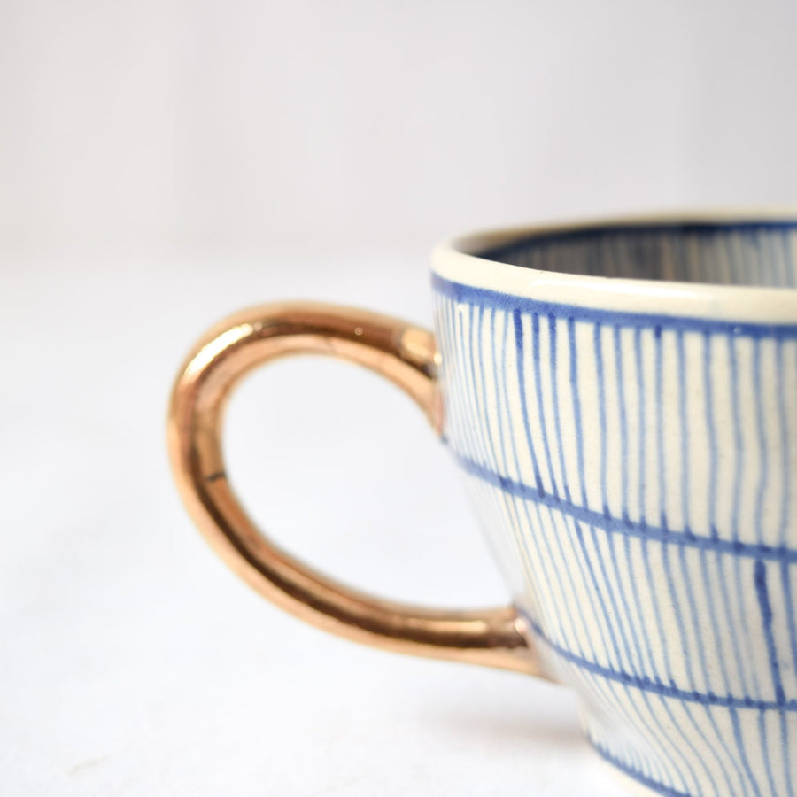 Natalie Meshed Handmade Ceramic Cup with Gold Handle (Blue)