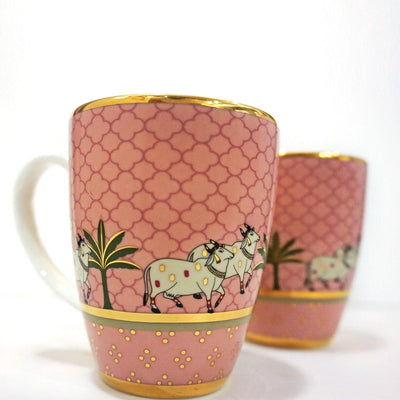 Pichwai Coffee Mug - Pink (Set of 2) by Kaunteya - Home Artisan