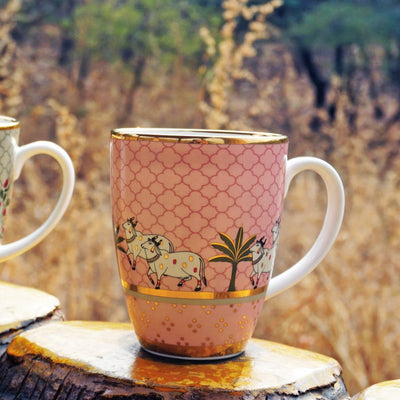 Pichwai Coffee Mug - Pink (Set of 2) by Kaunteya