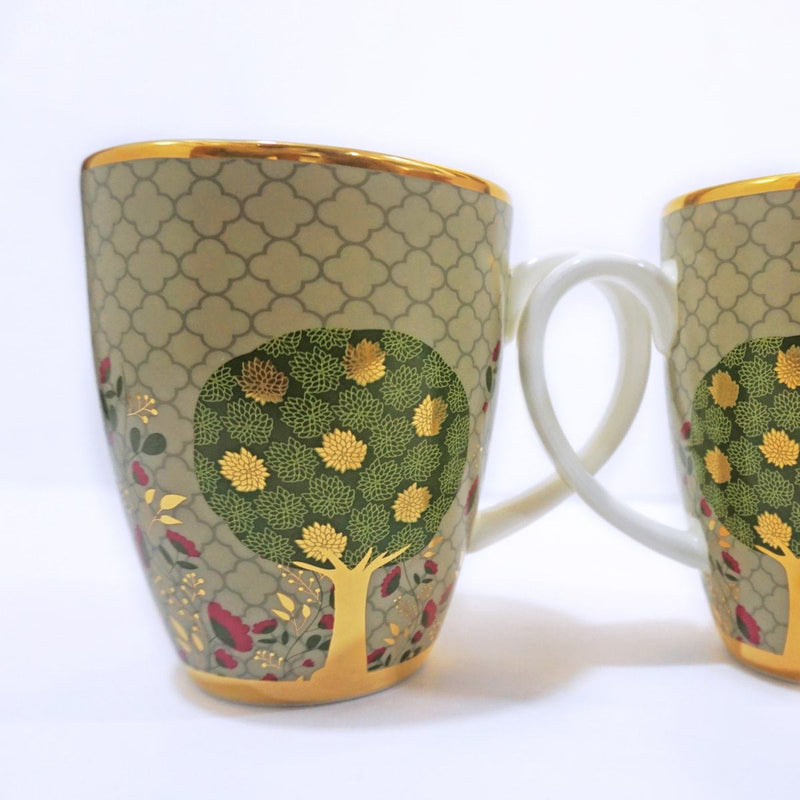 Pichwai Coffee Mug - Green (Set of 2) by Kaunteya - Home Artisan