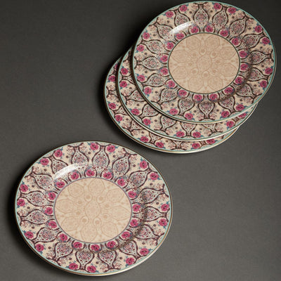 Pink Chidambaram Ceramic Round Dinner Plate (Set of 4) by Ritu Kumar Home - Home Artisan