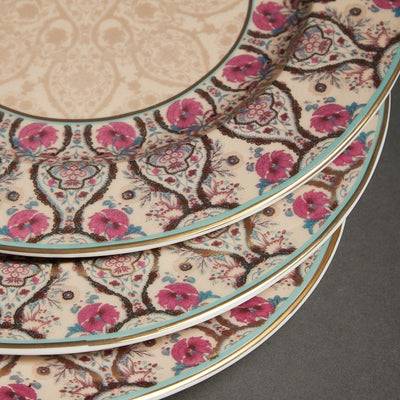 Pink Chidambaram Ceramic Round Dinner Plate (Set of 4) by Ritu Kumar Home