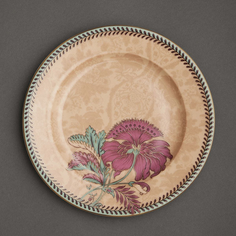 Pink Chidambaram Ceramic Round Side Plate (Set of 4) by Ritu Kumar Home - Home Artisan