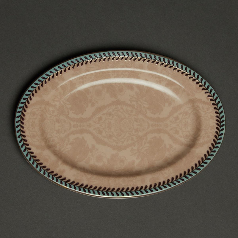 Pink Chidambaram Ceramic Oval Platter (Small) by Ritu Kumar Home