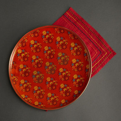 Red & Green Banki Ceramic Round Charger Plate by Ritu Kumar Home - Home Artisan
