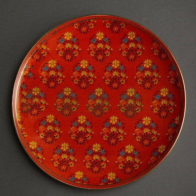 Red & Green Banki Ceramic Round Charger Plate by Ritu Kumar Home
