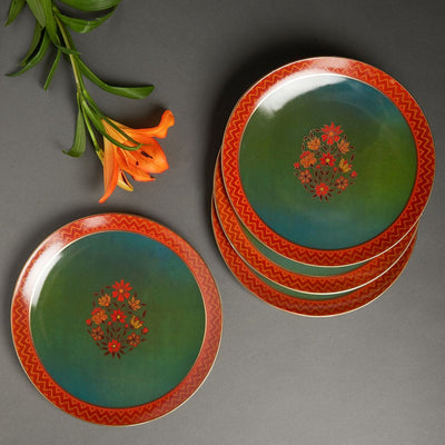 Green Banki Ceramic Round Dinner Plate (Set of 4) by Ritu Kumar Home - Home Artisan