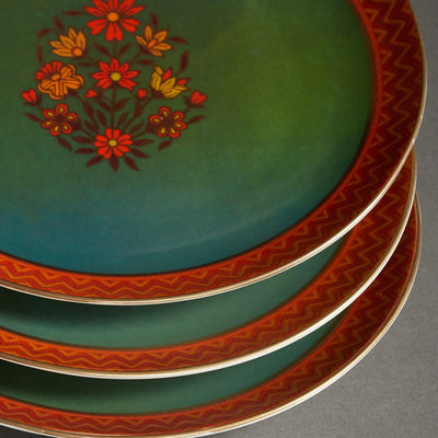 Green Banki Ceramic Round Dinner Plate (Set of 4) by Ritu Kumar Home