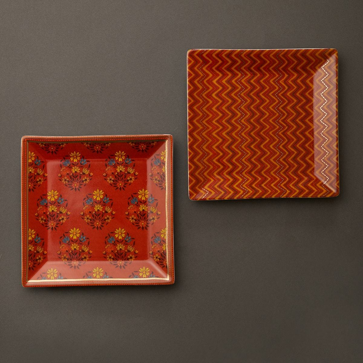 Rust Banki Ceramic Square Platter (Set of 2) by Ritu Kumar Home - Home Artisan