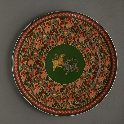 Green Baagh Charger Plate by Ritu Kumar Home - Home Artisan