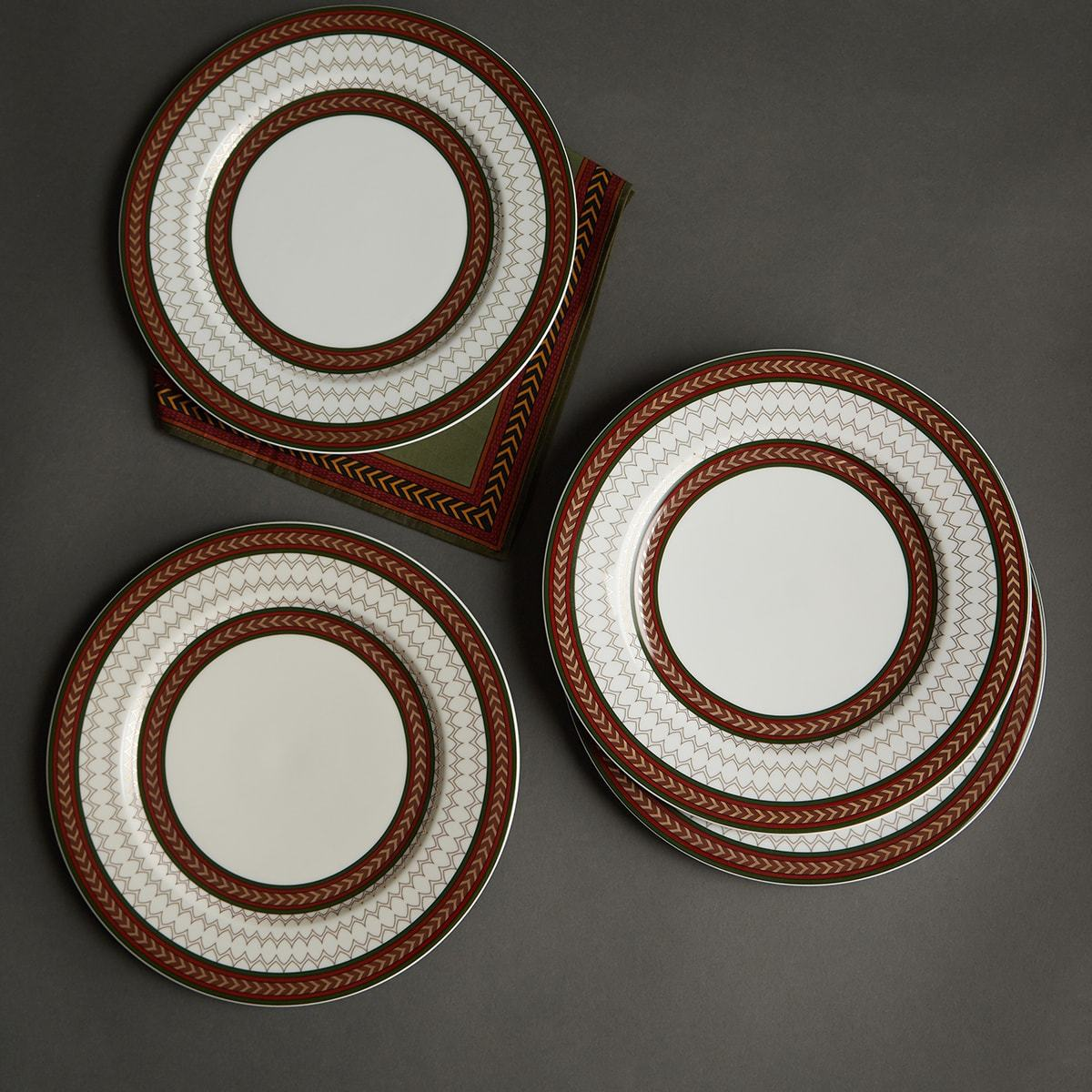 Off White Baagh Dinner Plate (Set of 4) by Ritu Kumar Home - Home Artisan