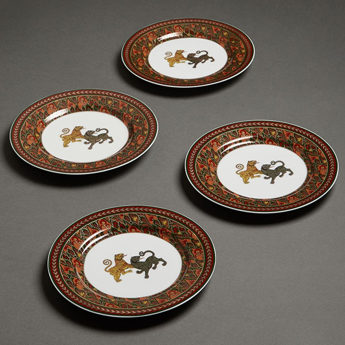 Off White Baagh Side Plate (Set of 4) by Ritu Kumar Home - Home Artisan
