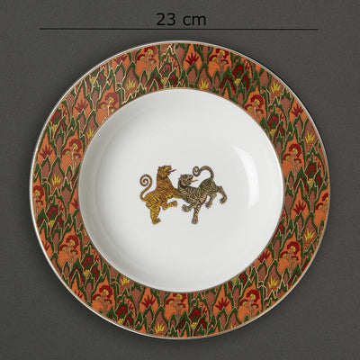 Off White Baagh Pasta Plate by Ritu Kumar Home